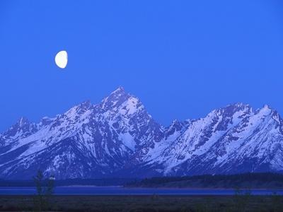 Moonlight on Grand Teton Range, Wyoming, USA