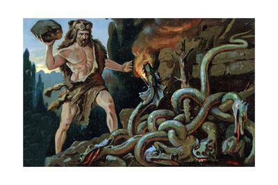 Illustration of Hercules and the Lernean Hydra
