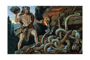 Illustration of Hercules and the Lernean Hydra by Stefano Bianchetti