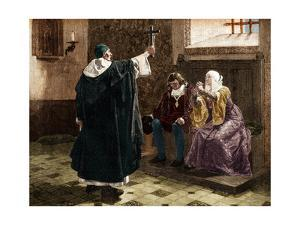 Illustration of Tomas De Torquemada with King Ferdinand II and Queen Isabella by Stefano Bianchetti