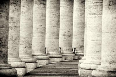 Colonnade in Rome Black and White Vatican City by stefano pellicciari