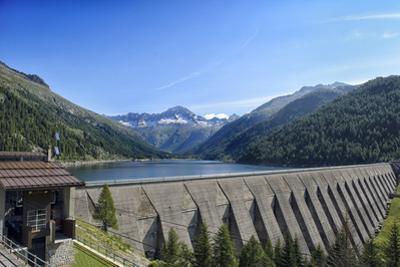 Landscape Mountains Lake Dam in Italy Trentino Dolomites Alps by stefano pellicciari