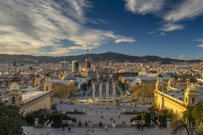 City Skyline at Sunset from Montjuic, Barcelona, Catalonia, Spain by Stefano Politi Markovina