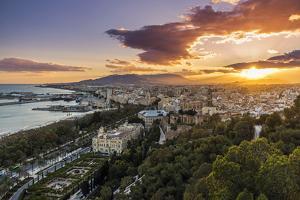 City skyline at sunset, Malaga, Andalusia, Spain by Stefano Politi Markovina