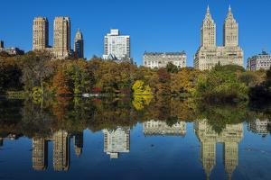 Fall Foliage at Central Park with Upper West Side Behind, Manhattan, New York, USA by Stefano Politi Markovina