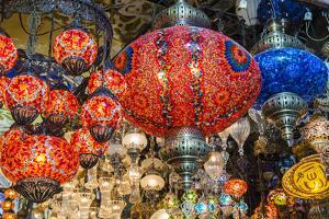 Lanterns Hanging in a Shop Inside the Grand Bazaar, Istanbul, Turkey by Stefano Politi Markovina