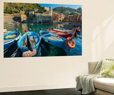 Moored Fishing Boats in the Small Port of Vernazza, Cinque Terre, Liguria, Italy