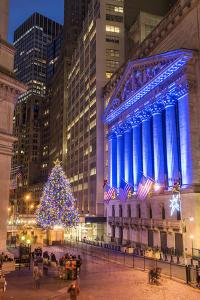 New York Stock Exchange with Christmas tree by night, Wall Street, Lower Manhattan, New York, USA by Stefano Politi Markovina