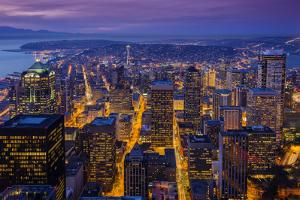 Night Downtown Skyline, Seattle, Washington, Usa by Stefano Politi Markovina