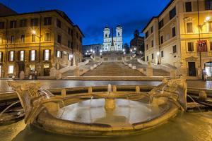 Night view of Fontana della Barcaccia and Spanish Steps, Piazza di Spagna, Rome, Lazio, Italy by Stefano Politi Markovina