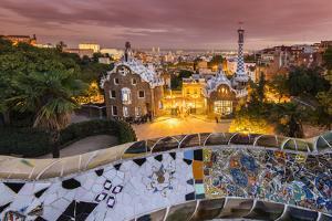 Park Guell with City Skyline Behind at Dusk, Barcelona, Catalonia, Spain by Stefano Politi Markovina