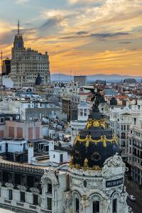 Skyline with Metropolis Building and Gran Via Street at Sunset, Madrid, Comunidad De Madrid, Spain by Stefano Politi Markovina