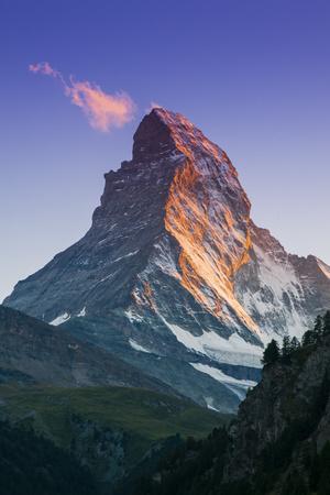 View at Sunset of Matterhorn, Zermatt, Wallis, Switzerland