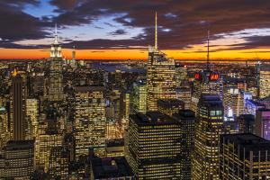 View over Midtown Manhattan skyline at dusk from the Top of the Rock, New York, USA by Stefano Politi Markovina