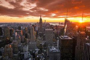 View over Midtown Manhattan skyline at sunset from the Top of the Rock, New York, USA by Stefano Politi Markovina