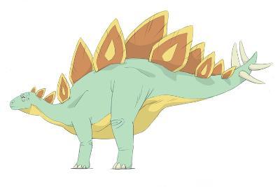 Stegosaurus Pencil Drawing with Digital Color-Stocktrek Images-Art Print