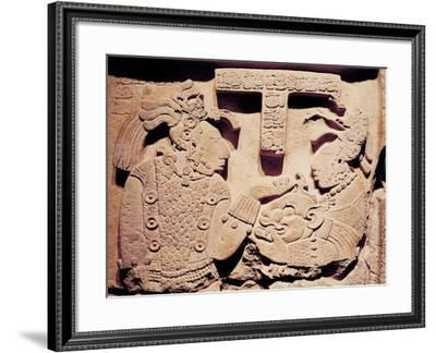 Stela Depicting a Woman Presenting a Jaguar Mask to a Priest, from Yaxchilan- Mayan-Framed Giclee Print