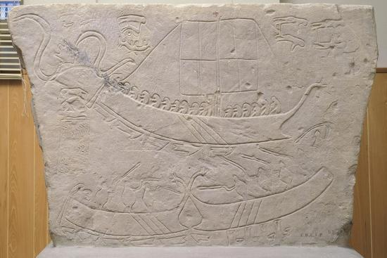 Stela Depicting Naval Battle, from Novilara, Marche, Italy, Piceno Civilization, 7th-6th Century BC--Giclee Print