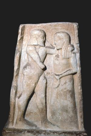 Stela of Menalaus and Helen (of Troy), Archaic Greek, c8th century BC-c5th century BC-Unknown-Framed Giclee Print