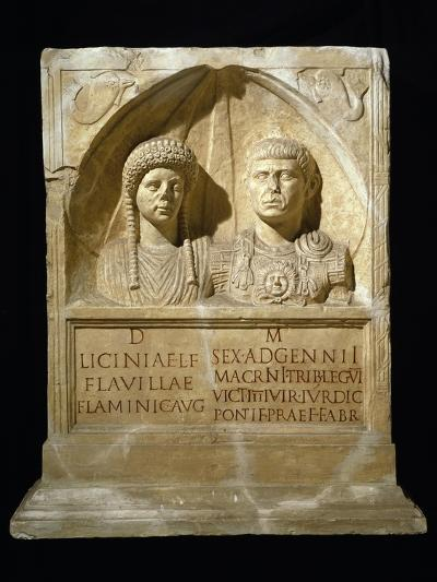Stele for Sesto Adgemnio Macrinus, Tribune of Legio VI Victrix and His Wife, from Nemausus, France--Giclee Print