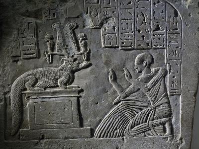 Stele of Aamerout in Prayer before God Sebek-Re, Limestone--Giclee Print