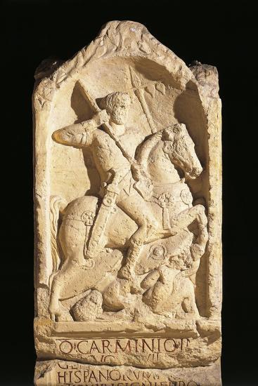 Stele of Quinto Carminio Ingenuo, Depicting Man on Horseback--Giclee Print