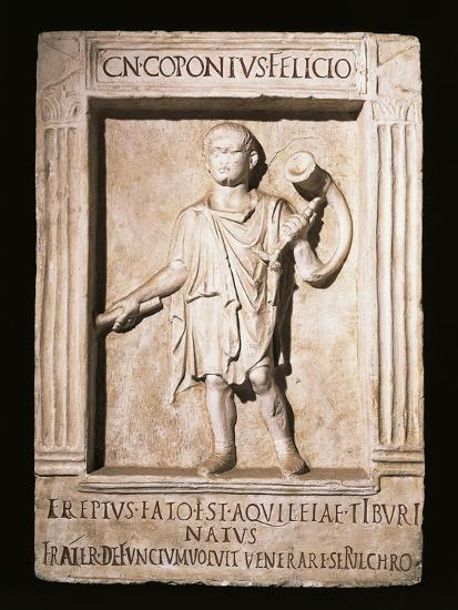 Stele of Trumpeter Cneus Coponius Felicio with Horn on Shoulder--Giclee Print