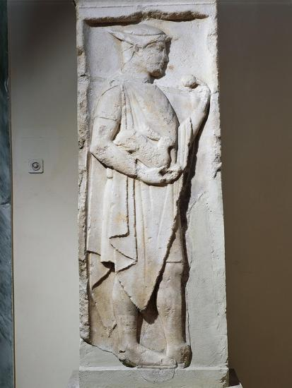Stele with Relief Depicting Hermes, from Larisa, Greece--Giclee Print