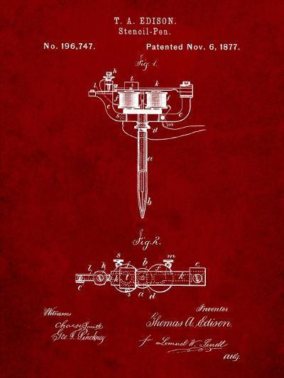 Stencil Pen Patent Art-Cole Borders-Art Print