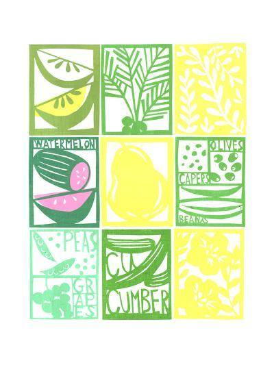 Stenciled Rectangles Containing Fruit, Flowers, and Cucumber Lettering--Art Print