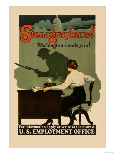 Stenographers! Washington Needs You!- Sill-Art Print