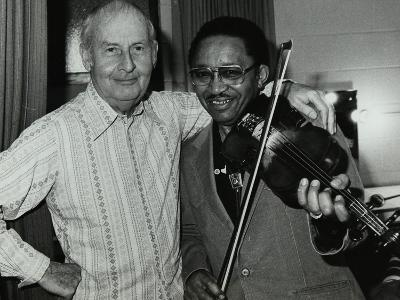 Stephane Grappelli and Claude Fiddler Williams at the Forum Theatre, Hertfordshire, 1980-Denis Williams-Photographic Print