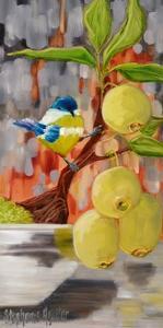 Chickadee with Bonsai by Stephanie Aguilar