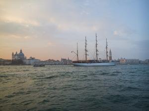 A Sailing Ship Makes its Way Along the Venice Waterfront by Stephen Alvarez
