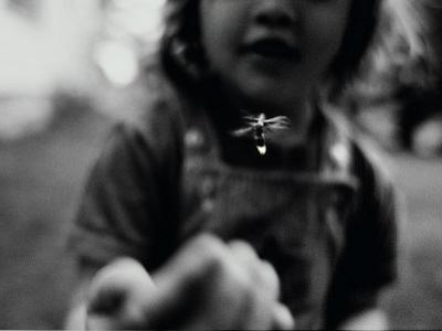 A Young Girl Reaches Out for a Firefly