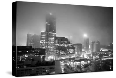 Cityscape of Buckhead, Atlanta in a Heavy Fog at Night