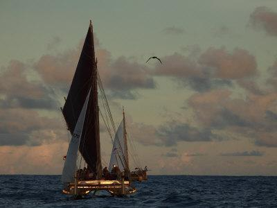 Hokule'A, a Double Hulled Canoe and a Polynesian Voyaging Canoe