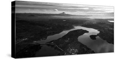 Mercer Island and Mount Rainier from an Airplane Window