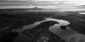 Mercer Island and Mount Rainier from an Airplane Window by Stephen Alvarez