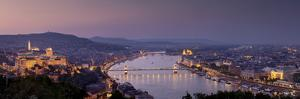 Panoramic View of Budapest and the Danube River in the Evening by Stephen Alvarez