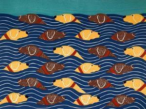 Beach Cover Sheet Choc Yel by Stephen Huneck