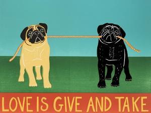 Love Is Give And Take Black And Tan Pugs by Stephen Huneck