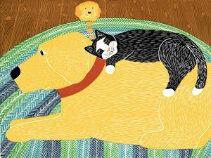 Think A Happy Thought Yellow Black Cat by Stephen Huneck