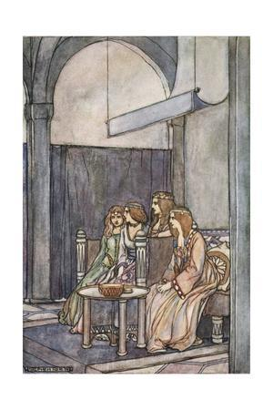 There sat the three maidens with the Queen', c1910