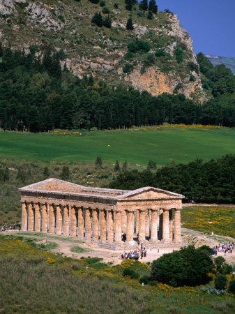 Ancient Doric Temple in Front of Mountain, Segesta, Sicily, Italy