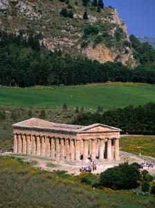 Ancient Doric Temple in Front of Mountain, Segesta, Sicily, Italy by Stephen Saks