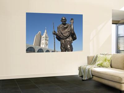 Statue of Mohandas Karamchand Gandhi at Ferry Plaza with Ferry Building Clocktower in Background