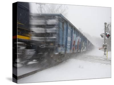 A Freight Train Rolls Through Heavy Snowfall of 'Blizzard of 2010'