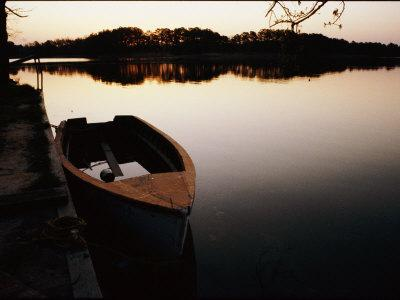 A Half-Sunken Rowboat Along an Inlet of the Chesapeake Bay
