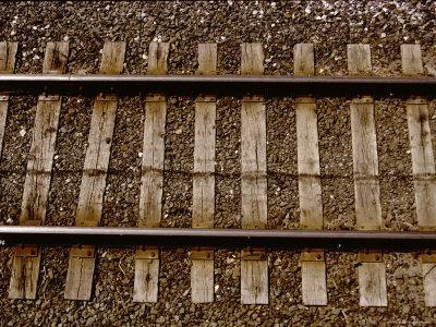 A Straightforward View from Above of Standard Railroad Tracks